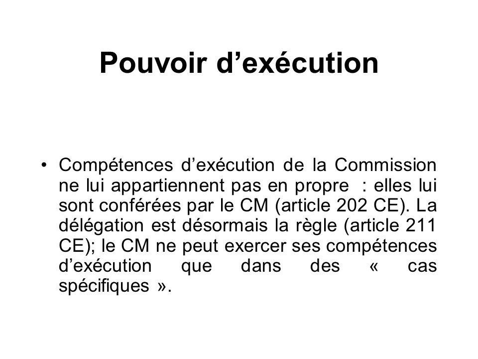 Pouvoir dexécution Compétences dexécution de la Commission ne lui appartiennent pas en propre : elles lui sont conférées par le CM (article 202 CE). L