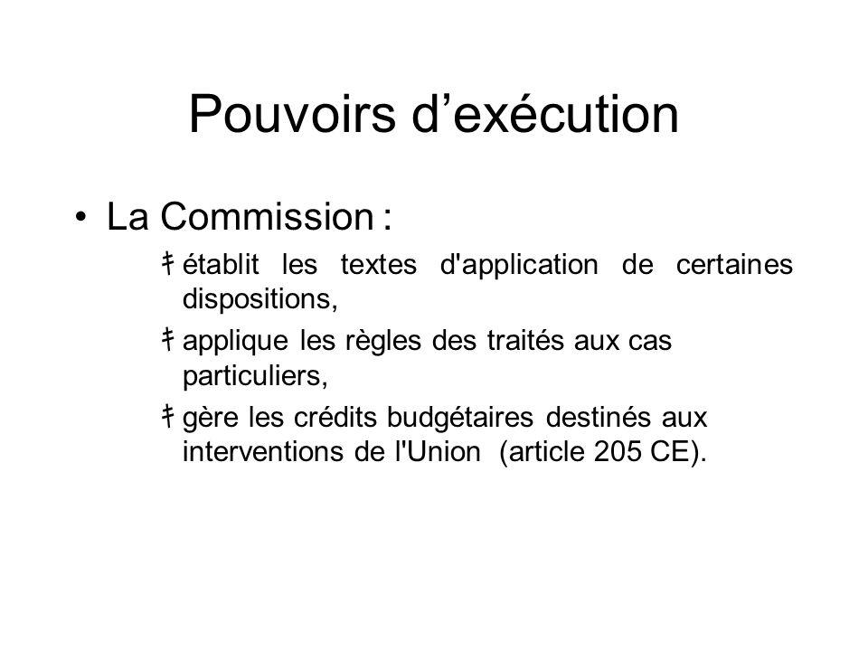 Pouvoirs dexécution La Commission : établit les textes d'application de certaines dispositions, applique les règles des traités aux cas particuliers,