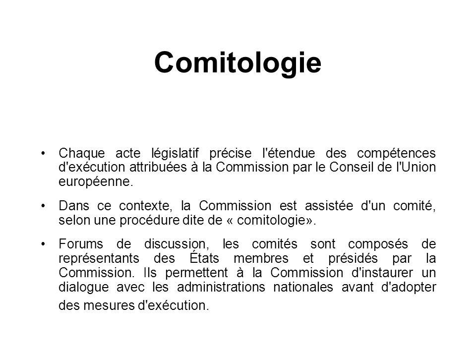 Comitologie Chaque acte législatif précise l'étendue des compétences d'exécution attribuées à la Commission par le Conseil de l'Union européenne. Dans