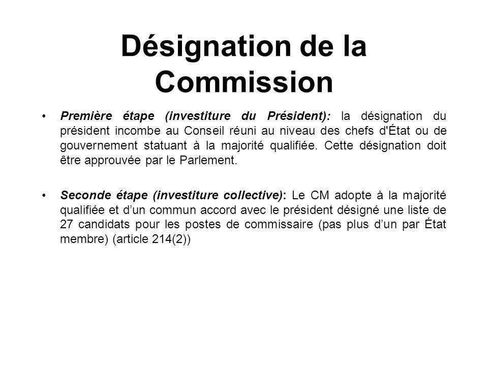 Désignation de la Commission Première étape (investiture du Président): la désignation du président incombe au Conseil réuni au niveau des chefs d'Éta