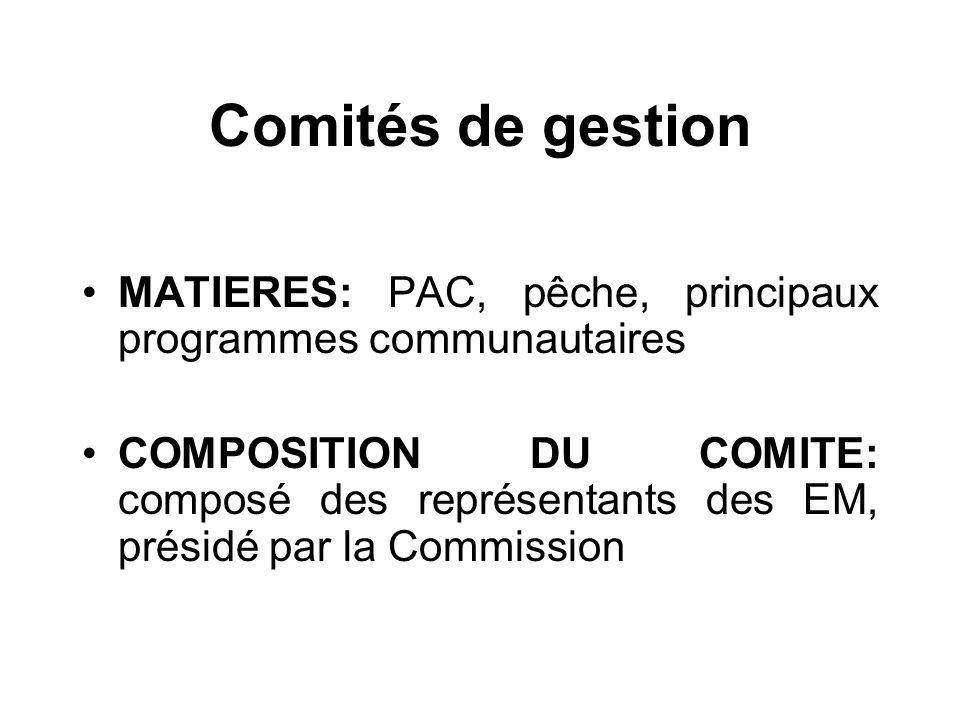 Comités de gestion MATIERES: PAC, pêche, principaux programmes communautaires COMPOSITION DU COMITE: composé des représentants des EM, présidé par la