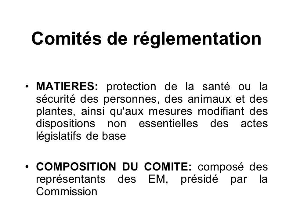Comités de réglementation MATIERES: protection de la santé ou la sécurité des personnes, des animaux et des plantes, ainsi qu'aux mesures modifiant de