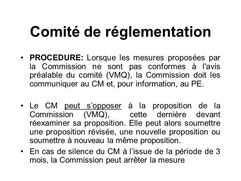 Comité de réglementation PROCEDURE: Lorsque les mesures proposées par la Commission ne sont pas conformes à l'avis préalable du comité (VMQ), la Commi