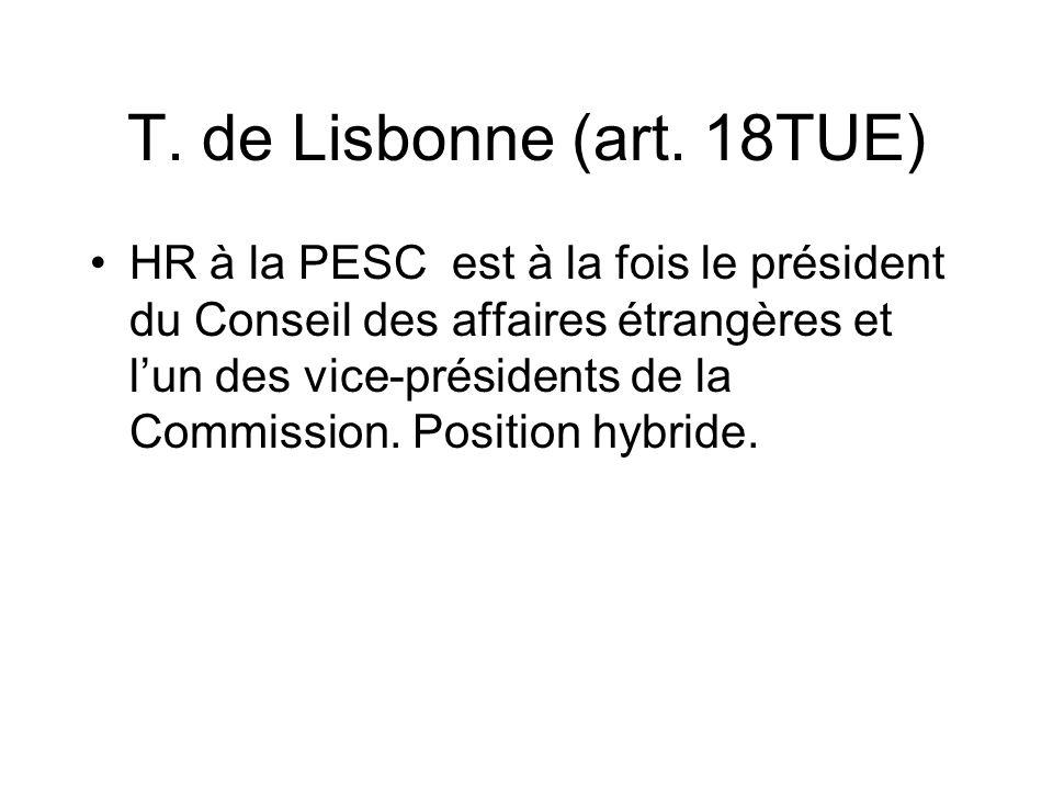 T. de Lisbonne (art. 18TUE) HR à la PESC est à la fois le président du Conseil des affaires étrangères et lun des vice-présidents de la Commission. Po