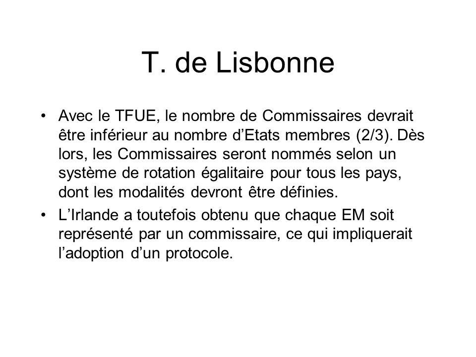 T. de Lisbonne Avec le TFUE, le nombre de Commissaires devrait être inférieur au nombre dEtats membres (2/3). Dès lors, les Commissaires seront nommés