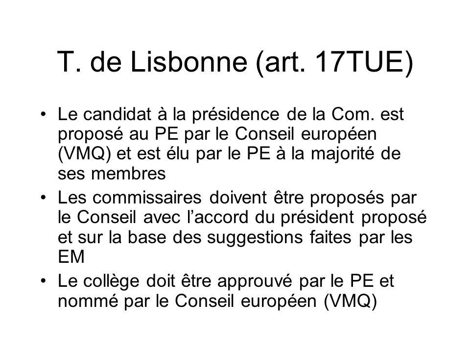 T. de Lisbonne (art. 17TUE) Le candidat à la présidence de la Com. est proposé au PE par le Conseil européen (VMQ) et est élu par le PE à la majorité