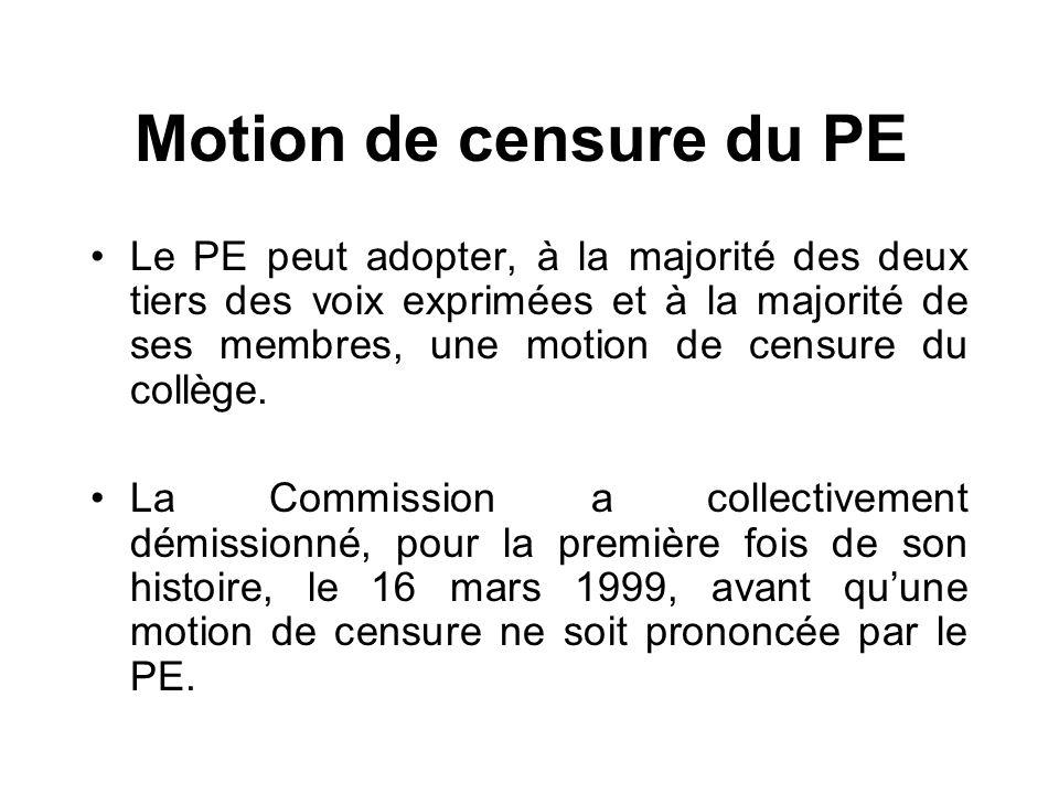 Motion de censure du PE Le PE peut adopter, à la majorité des deux tiers des voix exprimées et à la majorité de ses membres, une motion de censure du