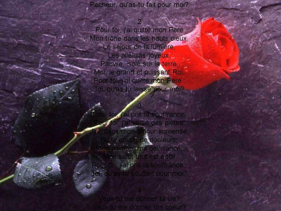 Pour toi, j'ai donné ma vie, Pour toi, j'ai versé mon sang; Ton âme, à Satan ravie, Échappe à son bras puissant. L'amour qui se sacrifie, L'as-tu sais