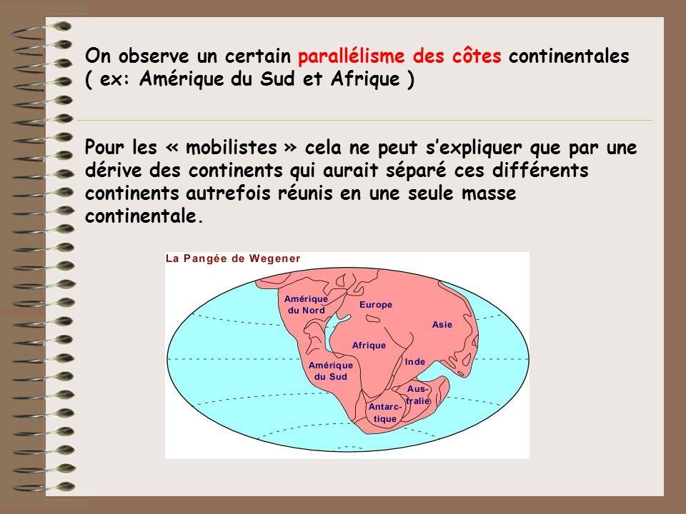 On observe un certain parallélisme des côtes continentales ( ex: Amérique du Sud et Afrique ) Pour les « mobilistes » cela ne peut sexpliquer que par