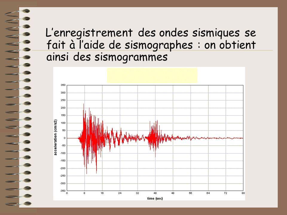 Lenregistrement des ondes sismiques se fait à laide de sismographes : on obtient ainsi des sismogrammes