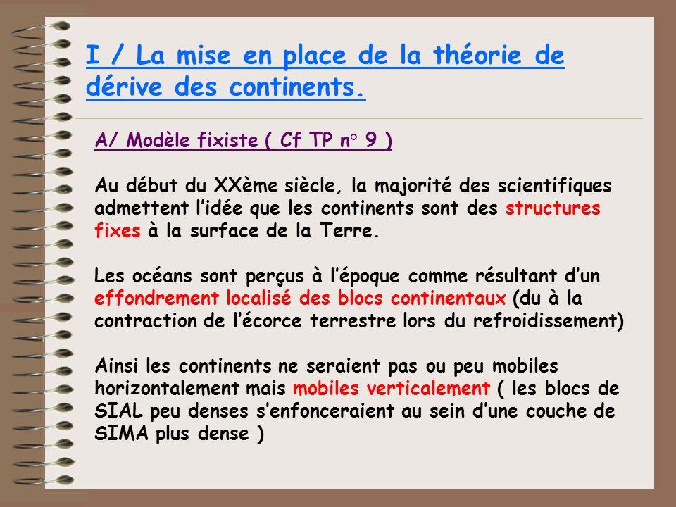I / La mise en place de la théorie de dérive des continents. A/ Modèle fixiste ( Cf TP n° 9 ) Au début du XXème siècle, la majorité des scientifiques