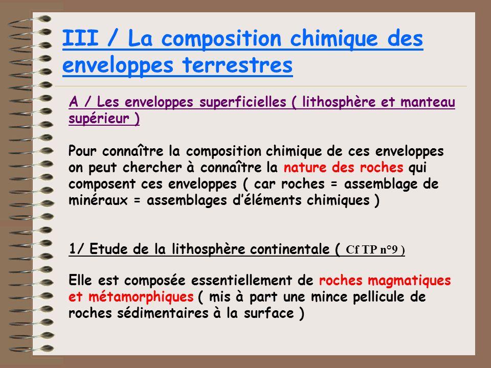 III / La composition chimique des enveloppes terrestres A / Les enveloppes superficielles ( lithosphère et manteau supérieur ) Pour connaître la compo