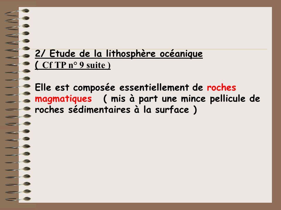 2/ Etude de la lithosphère océanique ( Cf TP n° 9 suite ) Elle est composée essentiellement de roches magmatiques ( mis à part une mince pellicule de