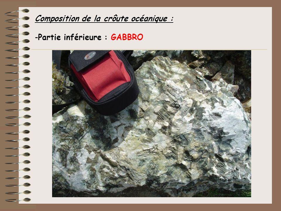 Composition de la crôute océanique : -Partie inférieure : GABBRO