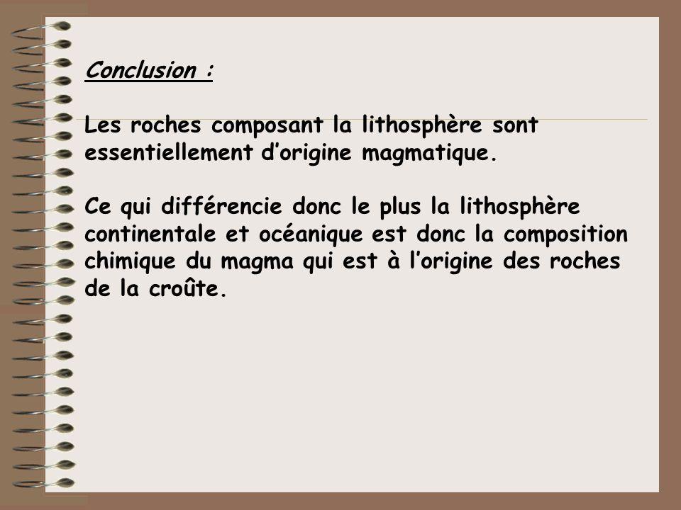 Conclusion : Les roches composant la lithosphère sont essentiellement dorigine magmatique. Ce qui différencie donc le plus la lithosphère continentale