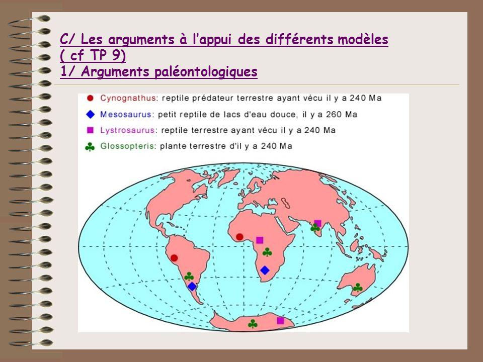 C/ Les arguments à lappui des différents modèles ( cf TP 9) 1/ Arguments paléontologiques
