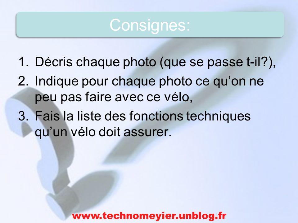 1.Décris chaque photo (que se passe t-il?), 2.Indique pour chaque photo ce quon ne peu pas faire avec ce vélo, 3.Fais la liste des fonctions technique