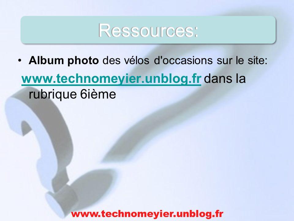 Album photo des vélos d'occasions sur le site: www.technomeyier.unblog.fr dans la rubrique 6ièmewww.technomeyier.unblog.fr
