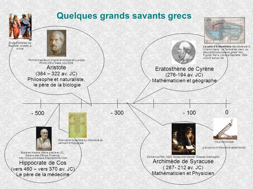 Quelques grands savants grecs Eratosthène de Cyrène (276-194 av. JC) Mathématicien et géographe - 300 - 500 - 100 0 Domenico Fetti, 1620, Musée Alte M