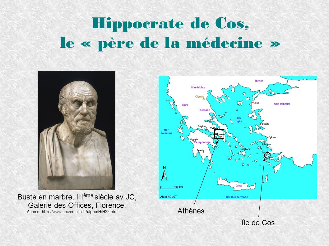Hippocrate de Cos, le « père de la médecine » Buste en marbre, III ème siècle av JC, Galerie des Offices, Florence, Source : http://www.universalis.fr