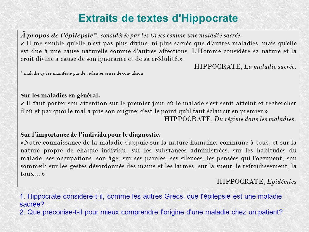 Extraits de textes d'Hippocrate À propos de l'épilepsie*, considérée par les Grecs comme une maladie sacrée. « Il me semble qu'elle n'est pas plus div