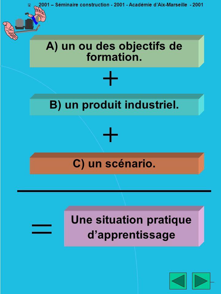________ EM - 2001 < 2001 – Séminaire construction - 2001 - Académie dAix-Marseille - 2001 A) un ou des objectifs de formation. B) un produit industri
