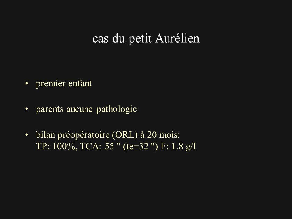 cas du petit Aurélien premier enfant parents aucune pathologie bilan préopératoire (ORL) à 20 mois: TP: 100%, TCA: 55
