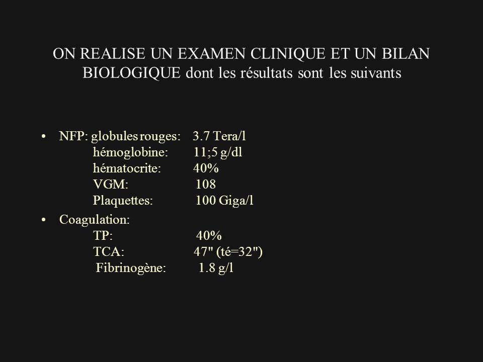 ON REALISE UN EXAMEN CLINIQUE ET UN BILAN BIOLOGIQUE dont les résultats sont les suivants NFP: globules rouges: 3.7 Tera/l hémoglobine: 11;5 g/dl héma