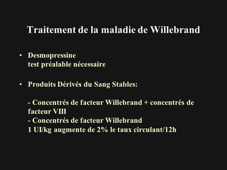 Traitement de la maladie de Willebrand Desmopressine test préalable nécessaire Produits Dérivés du Sang Stables: - Concentrés de facteur Willebrand +