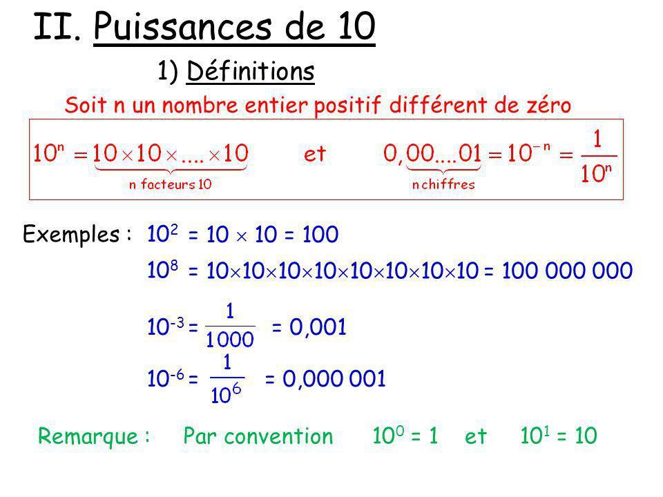 2) Règles de calcul Exemple : Exprimer les calculs suivants sous la forme dune seule puissance On retrouve les mêmes règles que dans I.
