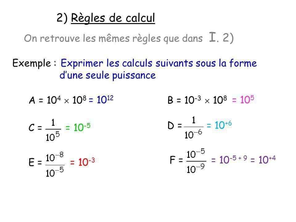 2) Règles de calcul Exemple : Exprimer les calculs suivants sous la forme dune seule puissance On retrouve les mêmes règles que dans I. 2) A = 10 4 10