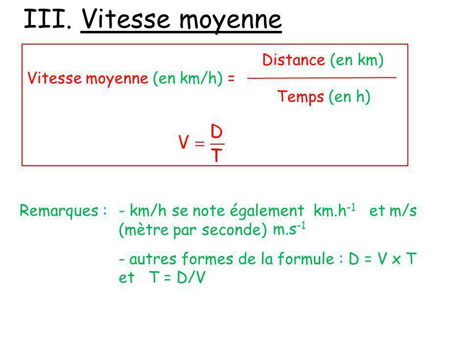 III. Vitesse moyenne Vitesse moyenne (en km/h) = Distance (en km) Temps (en h) Remarques :- km/h se note également et m/s (mètre par seconde) km.h -1