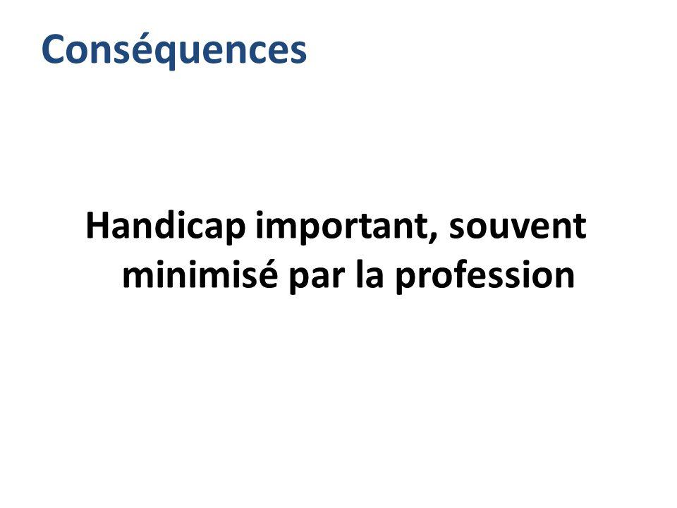 Conséquences Handicap important, souvent minimisé par la profession