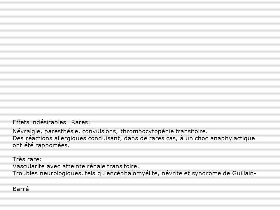 Effets indésirables Rares: Névralgie, paresthésie, convulsions, thrombocytopénie transitoire. Des réactions allergiques conduisant, dans de rares cas,