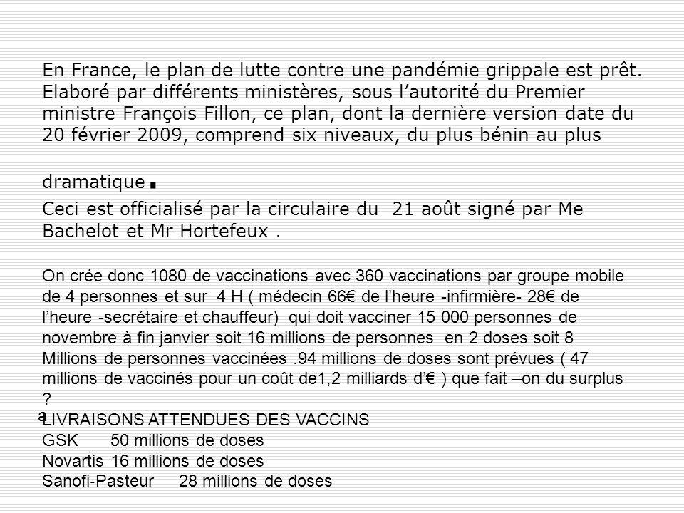 En France, le plan de lutte contre une pandémie grippale est prêt. Elaboré par différents ministères, sous lautorité du Premier ministre François Fill
