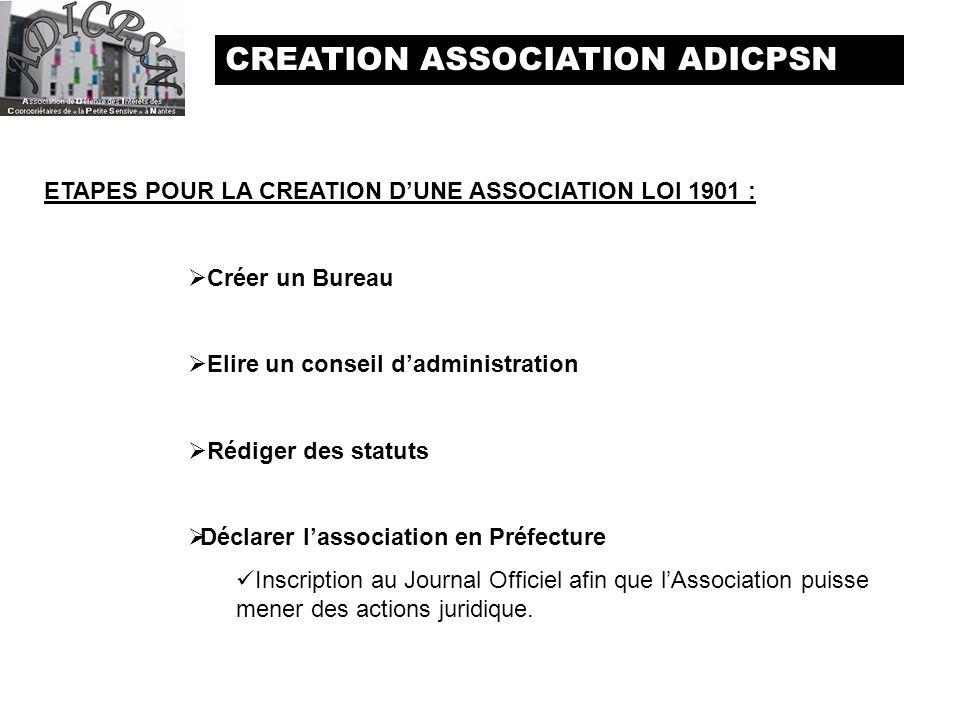 CREATION ASSOCIATION ADICPSN ETAPES POUR LA CREATION DUNE ASSOCIATION LOI 1901 : Créer un Bureau Elire un conseil dadministration Rédiger des statuts