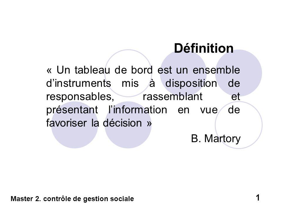 Définition « Un tableau de bord est un ensemble dinstruments mis à disposition de responsables, rassemblant et présentant linformation en vue de favor