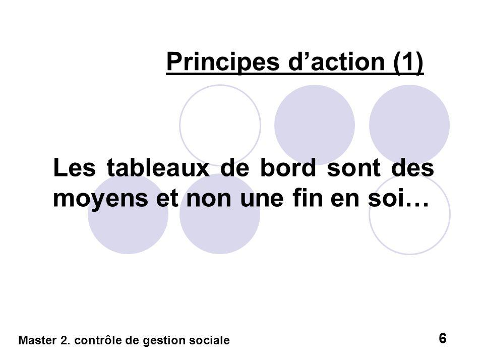 Principes daction (1) Les tableaux de bord sont des moyens et non une fin en soi… Master 2. contrôle de gestion sociale 6