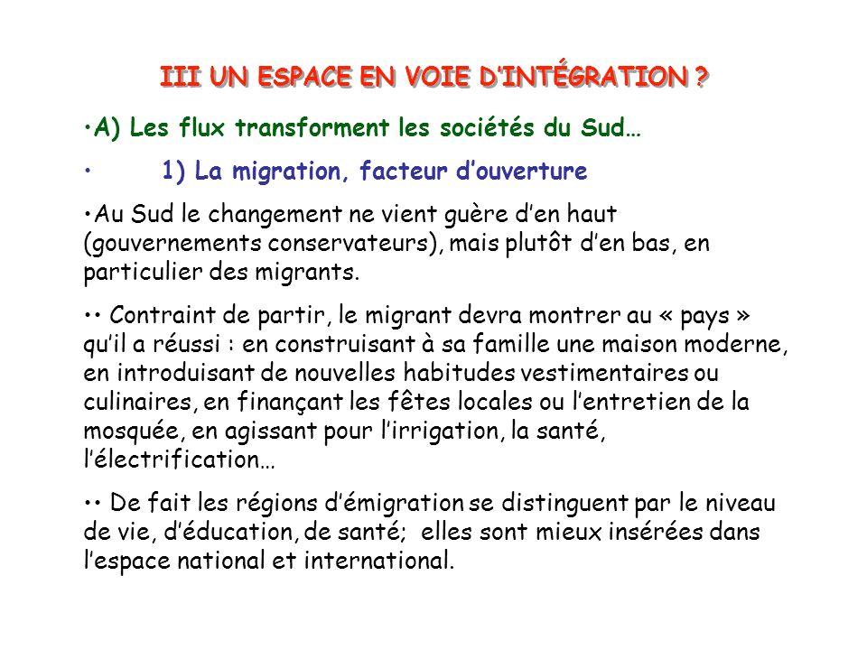 III UN ESPACE EN VOIE DINTÉGRATION ? A) Les flux transforment les sociétés du Sud… 1) La migration, facteur douverture Au Sud le changement ne vient g