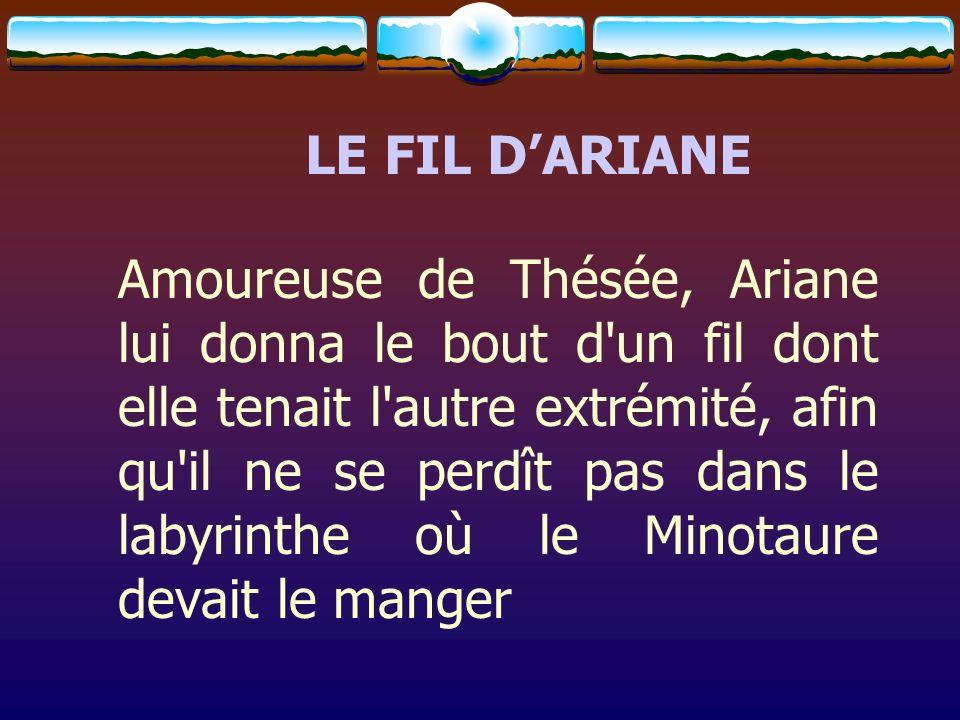 LE FIL DARIANE Amoureuse de Thésée, Ariane lui donna le bout d'un fil dont elle tenait l'autre extrémité, afin qu'il ne se perdît pas dans le labyrint