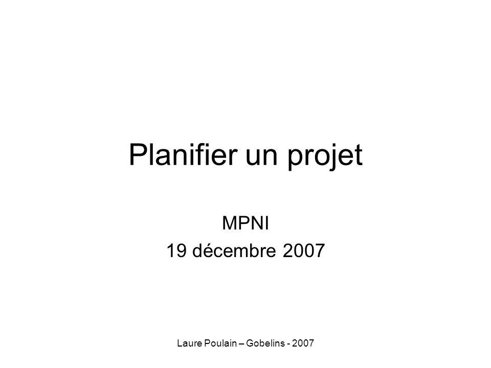 Laure Poulain – Gobelins - 2007 Planifier un projet MPNI 19 décembre 2007