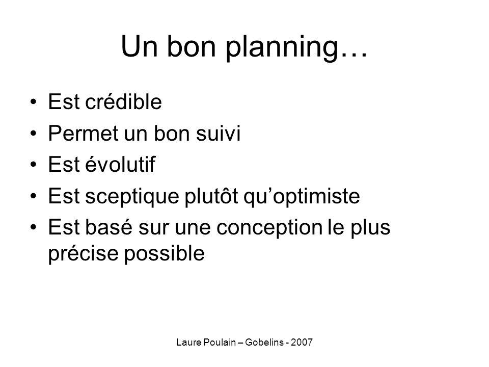 Laure Poulain – Gobelins - 2007 Un bon planning… Est crédible Permet un bon suivi Est évolutif Est sceptique plutôt quoptimiste Est basé sur une conce