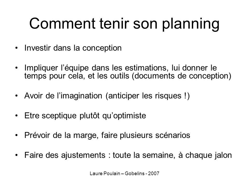 Laure Poulain – Gobelins - 2007 Comment tenir son planning Investir dans la conception Impliquer léquipe dans les estimations, lui donner le temps pou
