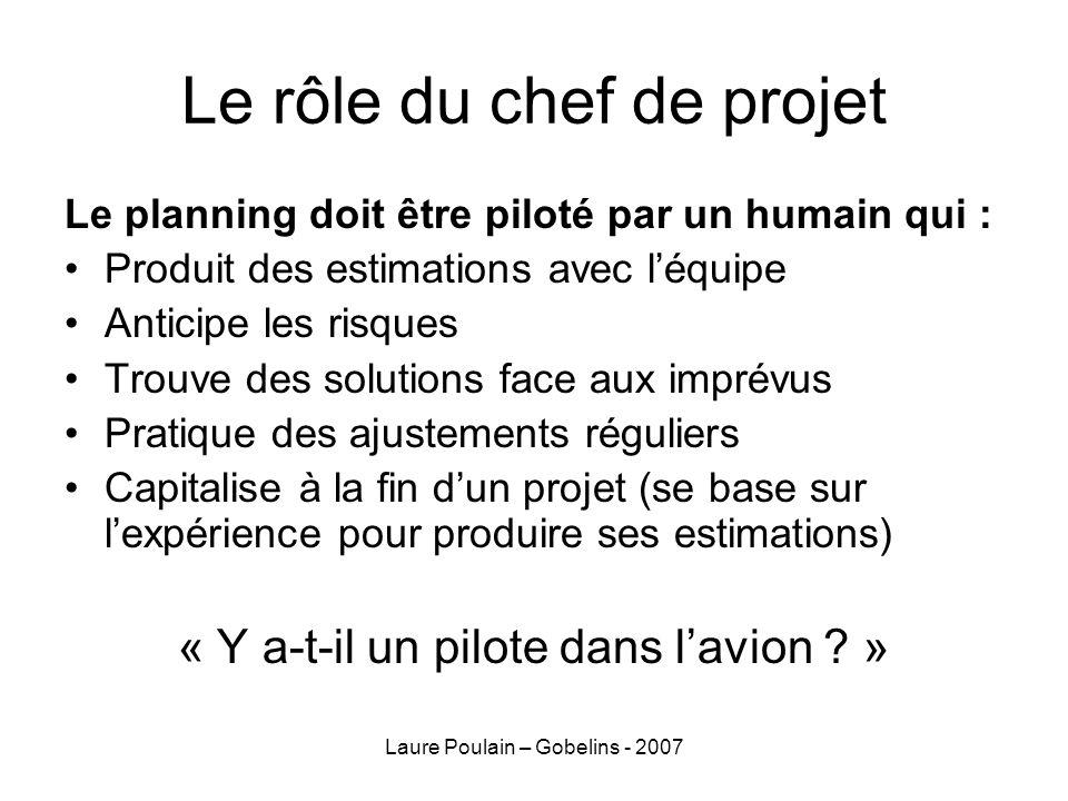 Laure Poulain – Gobelins - 2007 Le rôle du chef de projet Le planning doit être piloté par un humain qui : Produit des estimations avec léquipe Antici