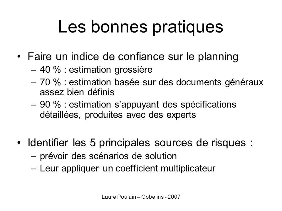 Laure Poulain – Gobelins - 2007 Les bonnes pratiques Faire un indice de confiance sur le planning –40 % : estimation grossière –70 % : estimation basé