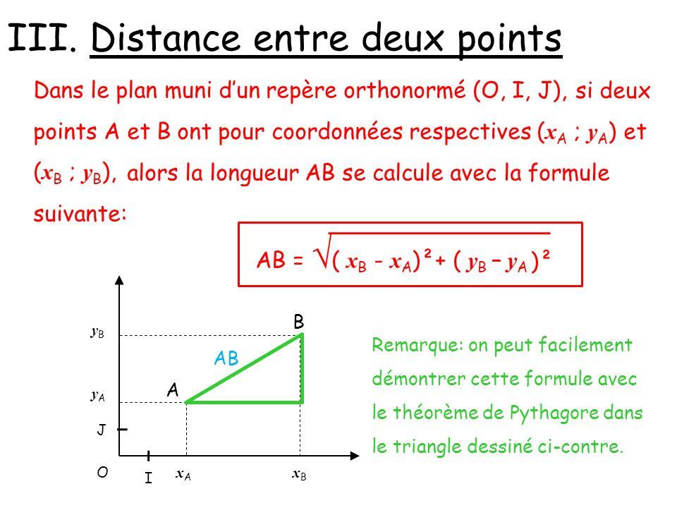III. Distance entre deux points Dans le plan muni dun repère orthonormé (O, I, J), Remarque: on peut facilement démontrer cette formule avec le théorè