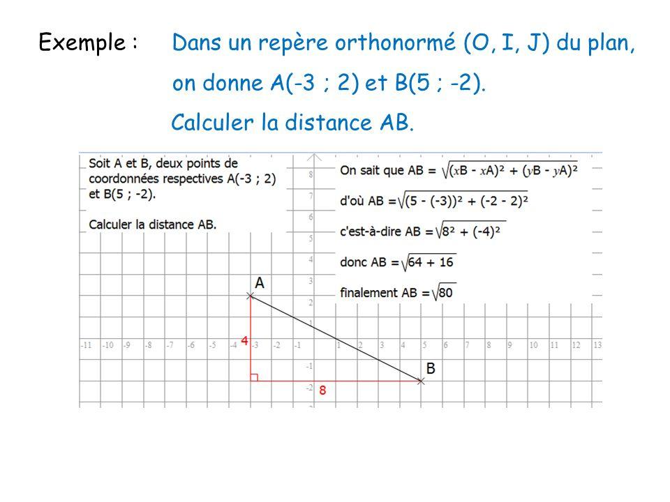 Exemple : Dans un repère orthonormé (O, I, J) du plan, on donne A(-3 ; 2) et B(5 ; -2). Calculer la distance AB. Cliquez sur licône pour voir lanimati