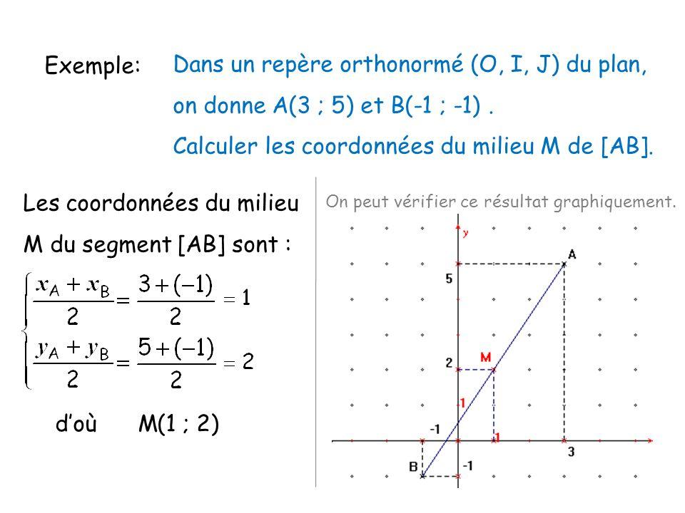Exemple: Dans un repère orthonormé (O, I, J) du plan, on donne A(3 ; 5) et B(-1 ; -1). Calculer les coordonnées du milieu M de [AB]. Les coordonnées d