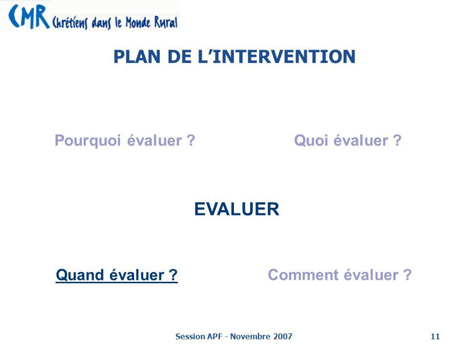Session APF - Novembre 200711 PLAN DE LINTERVENTION EVALUER Pourquoi évaluer ?Quoi évaluer .