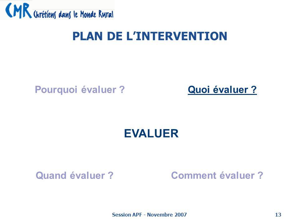 Session APF - Novembre 200713 PLAN DE LINTERVENTION EVALUER Pourquoi évaluer ?Quoi évaluer .